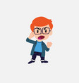 white boy with glasses screams angry in vector image vector image