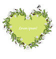 white campion flowers heart shaped wreath on white vector image vector image