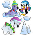 wintertime animals collection 2 vector image