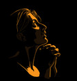 woman praying girl portrait silhouette in contrast vector image vector image