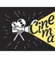 Cinema projector with yellow light hipster vector image