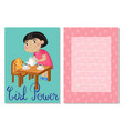 girl power kids postcard template set vector image