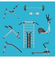 Sport fitness gym exercise equipment machines set vector image