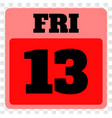 13th friday calendar page icon on chess vector image vector image
