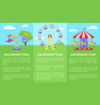 amusement park set of posters with ferris wheel vector image