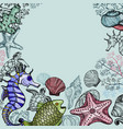 background with sea shells fish corals vector image vector image