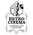 banner for retro cinema with vintage movie camera vector image