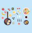 big set of various food dishes isolated top view vector image vector image