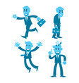 cartoon businessman four action walking tired vector image