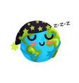 cute cartoon sleeping earth planet emoji funny vector image vector image
