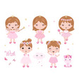 cute little baby girl dressed as princess vector image vector image