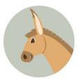 donkey cartoon faceflat style profile vector image vector image