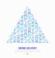 drone delivery concept in triangle vector image