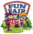 fun fair with big sign and two happy clowns vector image vector image