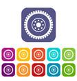 gear wheel icons set vector image vector image