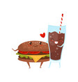 hamburger and cola drink are friends forever fast vector image vector image