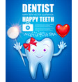 healthy teeth with bow red glossu heart balloon vector image