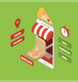 isometric online pizza delivery smartphone vector image