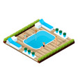 isometry of a girl by the pool people on vacation vector image