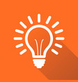 light bulb line icon isolated on orange vector image vector image