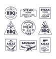 meat logo hand drawn steakhouse butchery and vector image