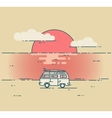 Minivan and sea sunset landscape vector image vector image