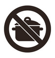 no cooking pan sign vector image vector image
