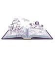 Open book Adventure Treasures pirates sailing vector image vector image