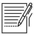 pen homework paper icon outline style vector image