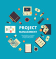 project management background concept office vector image vector image
