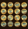 sale retro vintage gold and blue badges and labels vector image