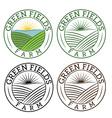 set emblems green fields farm vector image vector image