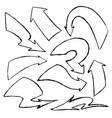 set hand-drawn doodle black arrows on vector image