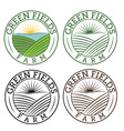 set of emblems green fields farm vector image vector image