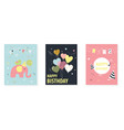 several bright posters with greetings happy vector image