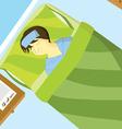 Sick boy sleep on the bed vector image vector image