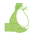 silhouette cloth bag to save things in the hand vector image vector image