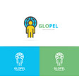 simple man with the planet logo design template vector image vector image