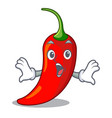 surprised hot chili pepper on cartoon table vector image
