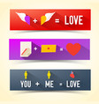three love banner set vector image vector image