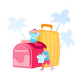 tiny male characters prepare for travel on vector image
