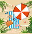 umbrella with towel and briefcase with hat in the vector image vector image