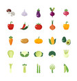vegetable veggies colorful flat icons set vector image vector image