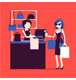 woman paying for shopping vector image vector image