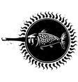woodcut frying fish 2 vector image vector image