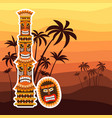 african ritual totem and mask vector image
