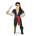 Old pirate captain with eye patch and bandana vector image