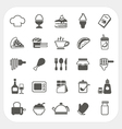 Food icons set on white background vector image