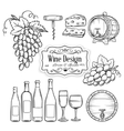 hand draw wine icons set on white vector image