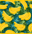 banana seamless pattern with tropical leaves on vector image vector image